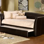 Leather framed daybed with trundle addition