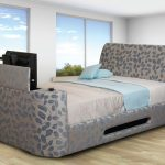 Leaves Design Of Beds With Built In TV With Storage Place And Elegant Bedding