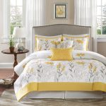 Leaves Yellow White Design Of Harbour House Bedding With Round Wooden Side Table Plus Small Table Lamp