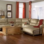 Light Brown Sectional Sofas With Recliners And Chaise With Sleeper And Wooden Coffee Table With Storage