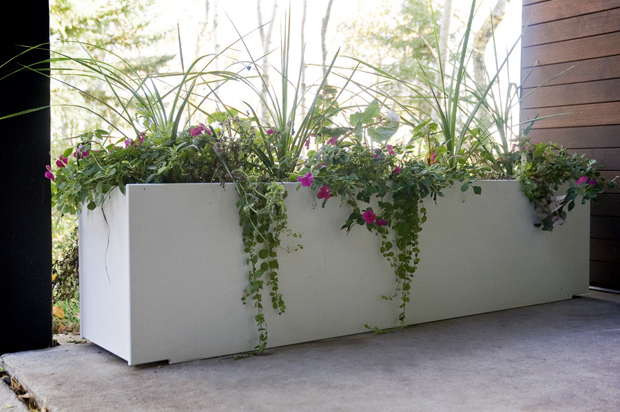 Beau Long White Large Planters For Outdoors