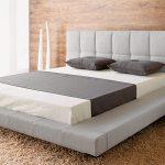 Low Profile Platform Bed Frame With King Size And Large Fur Rug