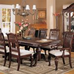 Luxury Formal Dining Room Sets For 8 With Wooden Hutch And White Chandelier