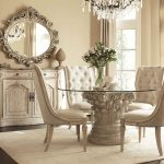 Luxury White Dining Room With Pedestal Table Base For Glass Top Armless Chairs Rustic Cabinet Decorative Mirror And Crystal Chandelier