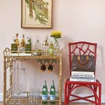 Mini Bar Chic Gold Of Bar Cart Accessories With Red Chair