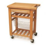 Minimalist butcher block on wheels with drawer and larger metal wire basket