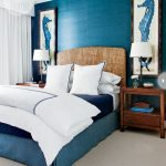 Mix rustic modern bedroom decorating idea in beachy theme with a blue bed frame with unique headboard white bed comforter set with dark blue lines decoration wooden bedside tables