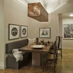 Modern Dining Room Benches With Backs And Long Wooden Table And Great Lighting