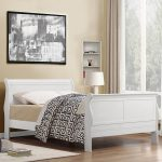 Modern Sleigh bed frame in white with less curved headboard and footboard