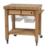 Modern butcher block on wheels with metal wire baskets underneath