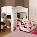 Modern loft bed frame idea with large additional bunk ladder and computer desk for girls