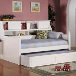 Modern white and extra daybed with trundle and shelving unit