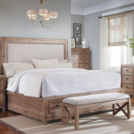 Natural Dillards Bedroom Furniture With Headboard Nail Trim Bed Bench Side Table And Cabinet