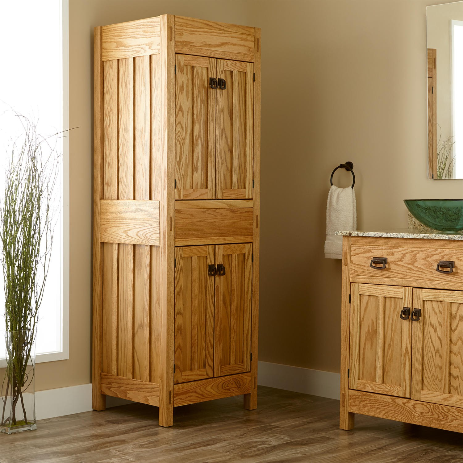Natural Look Of Wooden Free Standing Linen Closet And Cabinet With Green Gl Sink