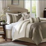 Neutral schemed bed comforter set for california king bed