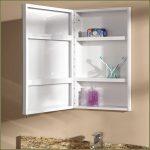 Open White Wooden Recessed Medicine Cabinet No Mirror