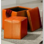 Orange leather Ottomans with storage