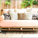 Outdoor Rolling Contemporary Daybed Covers With Light Orange Mattress Plus Colorful Pillows