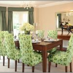 Parsons Chairs Target With Green Leaves Design And Rectangulear Wooden Table