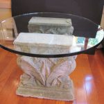 Pedestal Table Base For Glass Top For Dining Room With White Rock Design