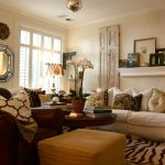 Perfect Living Room With Cheetah Print Rugs And Nice Accessories Design