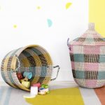 Pink Black White Striped Design For Senegalese Storage Baskets