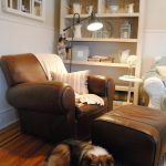Pottery Barn Manhattan Sofa Leather Chair With Ottoman And White Cabinet