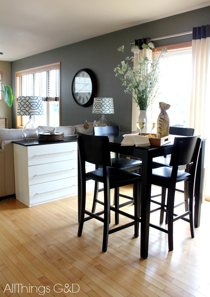 Pretty Dark Wooden High Top Tables Ikea In Small Dining Room Near Sofa Cabinet And White