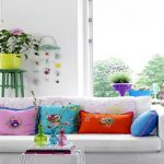 Pretty Living Room With White Sofa Colorful Pillow Small Table And Yellow Pot With Stand Of Home Furnishing Catalogs
