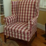 Red white buffalo upholstered corner chair