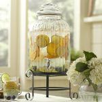 Ribbed Glass Drink Dispenser With Metal Spigo And Base Plus Flower
