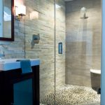 River Rock Tile Sheets For Shower Tile With Glass Door Mirror And Sink