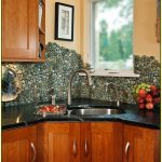 River Rock Tile Sheets On Kitchen Backsplash With Wooden Kitchen Set