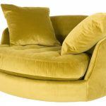 Round Yellow Oversized Chairs For Two With Double Pillows