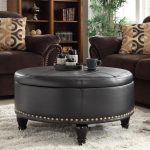 Round tufted leather Ottoman coffee table in black