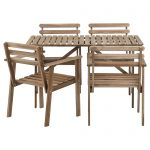 Rustic Wooden Outdoor Bistro Set Ikea With Four Chairs