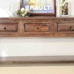 Rustic Wooden Shallow Console Table With Drawers Racks And Frame Accessories