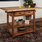 Rustic butcher block idea with wheels drawer and shelving units