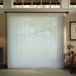Sheer Glass Door Coverings Near To Dark Wooden Cabinet Table Lamp And Accent Chair