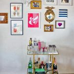 Simple Bar Cart Accessories With Frames On Wall