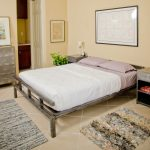 Simple Low Profile Platform Bed Frame With Double Unique Rug Design