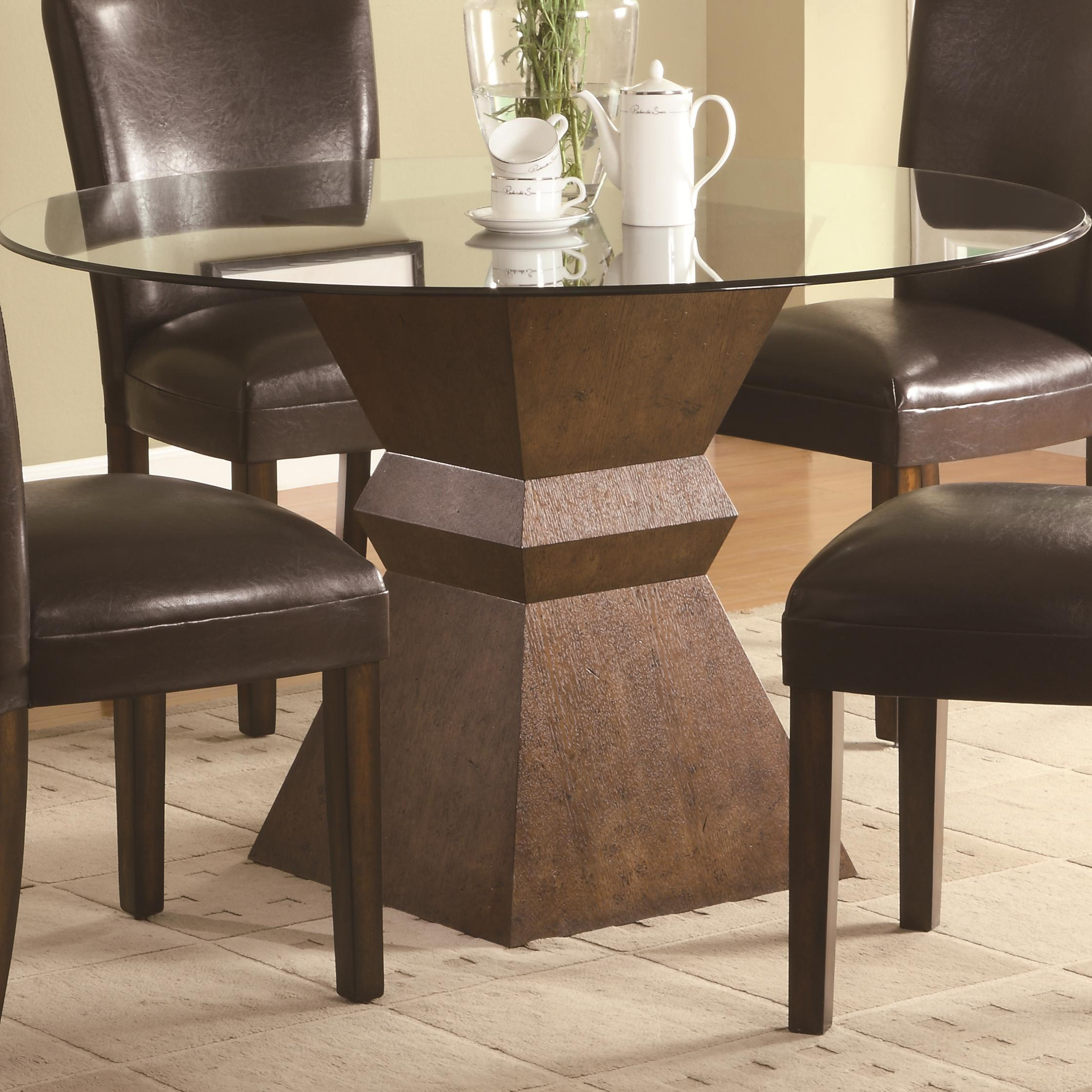 Simple Round Pedestal Table Base For Gl Top With Brown Leather Chairs