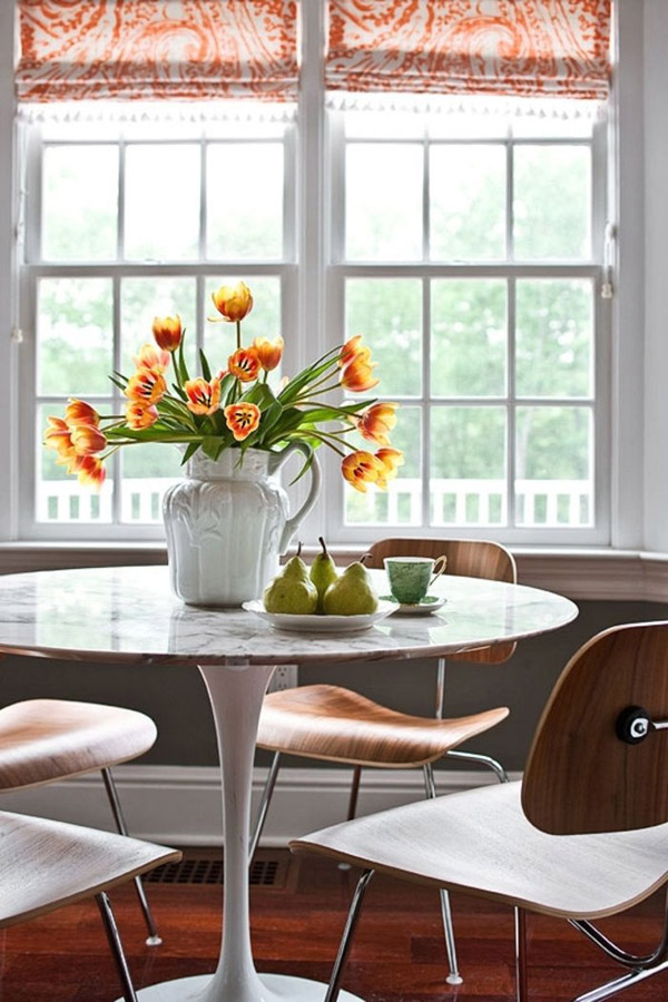 Simple White Ikea Tulip Table For Dining Room With Cool Wooden Chair Near Window