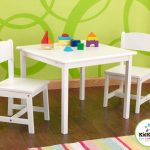 Simple White Rectangular Table And Chair Set For Toddlers With Green Wallpaper And Colorful Rug
