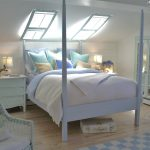 Simple Beachy Bedroom Decor Idea With White Bed Frame With Four Pillars White Comforter And Light Turquoise Pillow Cases A Pair Of Bedside Tables In White A White Rattan Chair With White Cushion