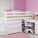 Simple Minimalist Loft Bed Frame With Desk For Girls In White