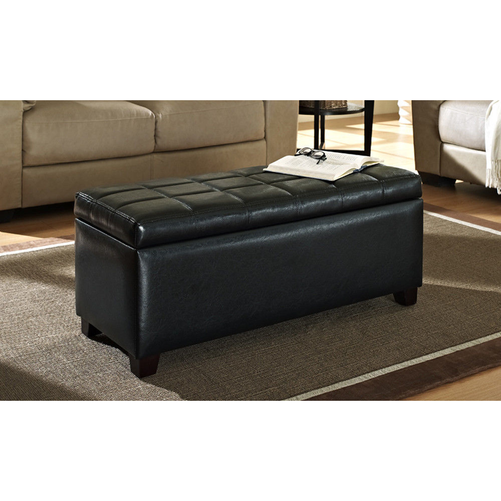 Simple Minimalist Tufted Leather Ottoman Table In Black