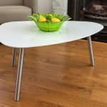 Simple white coffee table with lightweight metal legs