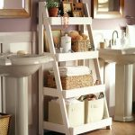 Simple White Ladder Shelf Idea Which Is Made Of Wooden With White Finishing
