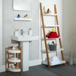Simple wood ladder shelf idea for bathroom a free standing sink for bathroom small rack idea